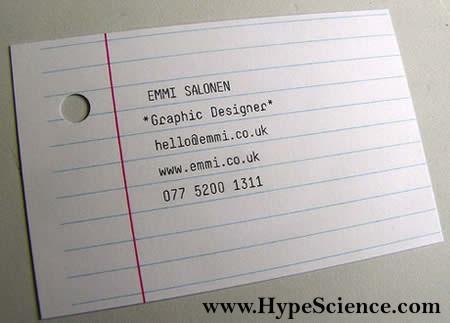 Cartão de visitas criativo