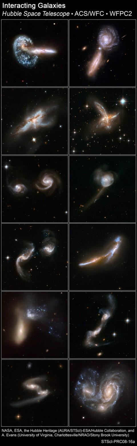 colisão de várias galáxias