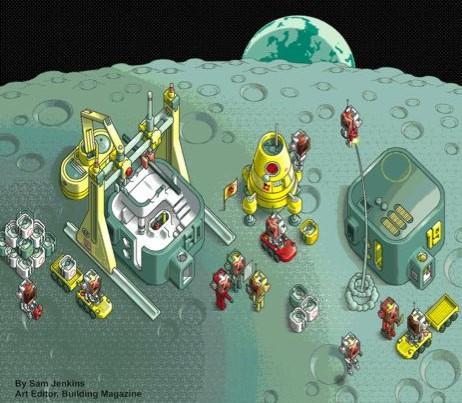 contrução robótica de abrigo na lua