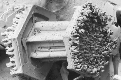Um cristal de neve com gotas de água congeladas na superfície ultra-gelada com cerca de 50 microns.