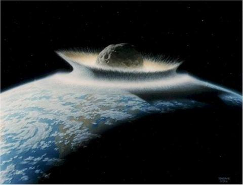 Meteor destroying the earth