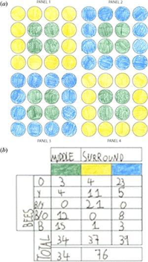 O artigo inclui tabelas e diagramas coloridos a lápis e preenchidos com as letras das crianças