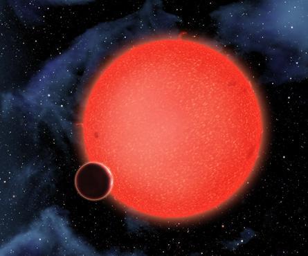 Ilustração artística do planeta orbitando sua estrela