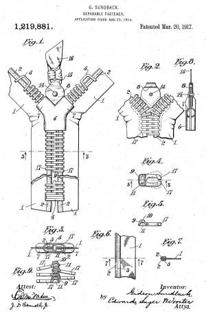 Ilustrações da patente de Gideon Sundback de 1914