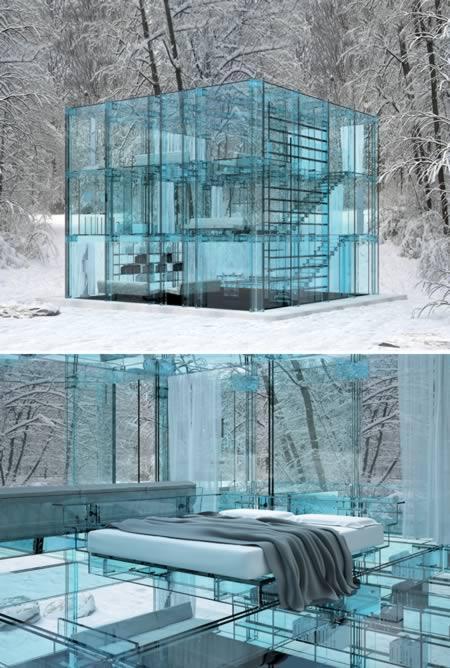"""A casa acima foi projetada pelo designer e arquiteto Carlo Santambrogio e não foi construída (ainda) – a imagem foi gerada por computador, seguindo os desenhos de Santambrogio. Ela faz parte de um projeto maior de casas de vidro, e foi pensada como se fosse uma """"casa de neve"""". Sua estrutura pode ser organizada de diversas maneiras"""