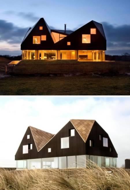 """Ao sul da pequena vila de Thorpeness (Inglaterra), a Dune House foi construída pela dupla Jarmund/Vigsnæs Architects, que se tornou conhecida por criar estruturas que unem dois tipos de conforto: o """"da modernidade"""" e o """"do campo"""""""