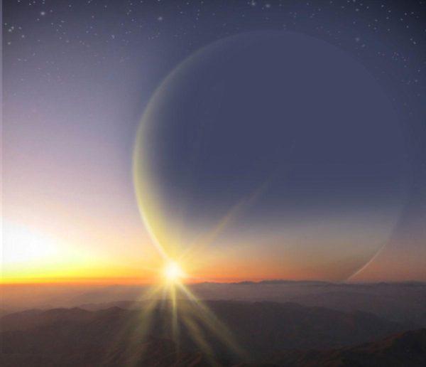 Composição artística da vista de uma teórica lua orbitando o planeta Ph2 b