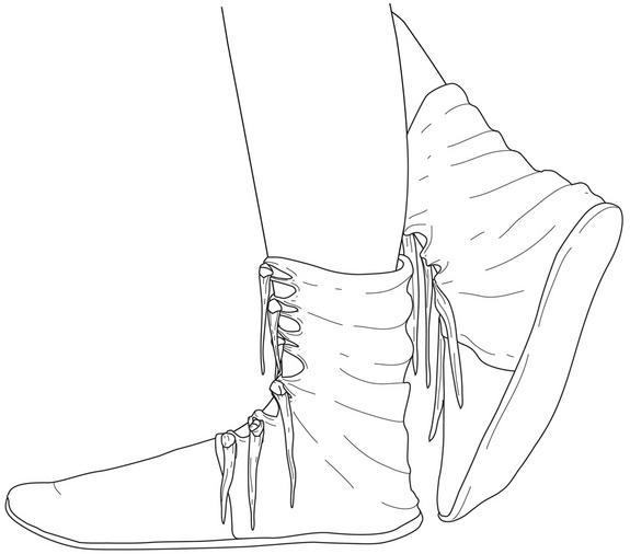 Concepção artística de como os sapatos teriam parecido na época