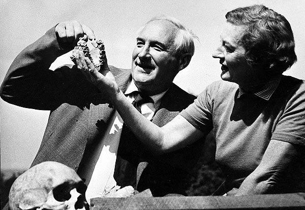 Mary e Louis examinando fóssil de Zinjanthropus boisei
