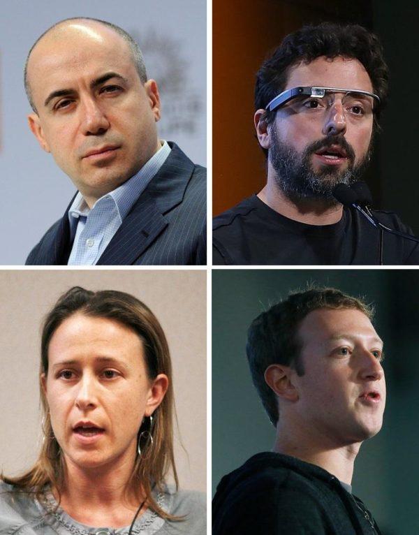 Yuri Milner, Sergey Brin, Anne Wojcicki e Mark Zuckerberg