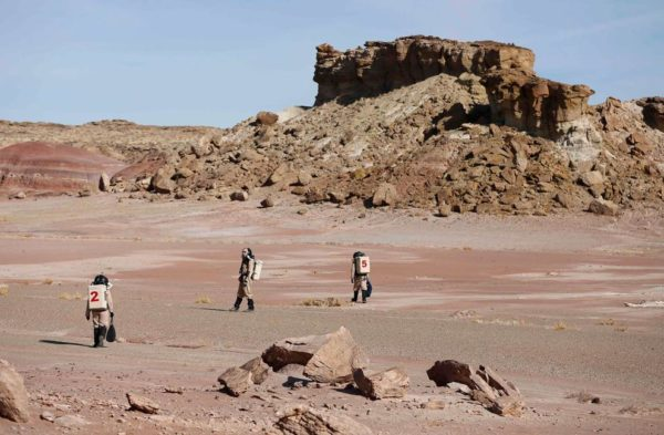 Membros da pesquisa recolhem amostras geológicas para estudo