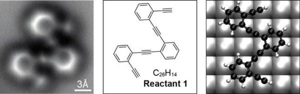 A molécula reagente, mostrada numa superfície de prata, antes do rearranjo em produtos
