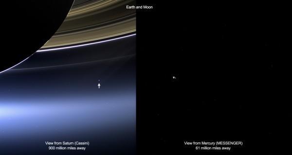 Estas imagens mostram a Terra e a lua da sonda Cassini da NASA em torno de Saturno (à esquerda) e sonda Messenger em Mercúrio (à direita) em 19 de julho de 2013. Cassini estava a 1,44 bilhões de quilômetros de distância da Terra na época, enquanto Messenger estava a 98 mihões del km