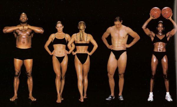 Joe Johnson, jogador de futebol americano, 1,93 m e 122 kg / Inge de Brujin, nadadora, 1,80 m e 60 kg / Marty Nothstein, ciclista, 1,88 m e 98 kg / Ruthie Bolton-Holifield, jogador de basquete, 1,73 m e 68 kg