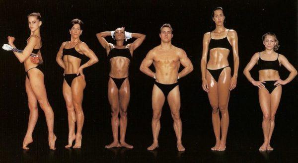 Jessica Howard, ginasta rítmica, 1,70 m e 45 kg / Tobey Gifford, atleta aeróbica, 1,60 m e 54 kg / Tasha Schwikert, ginasta, 1,56 m e 50 kg / San Townstend, ginasta, 1,62 m e 61 kg / Erin Aldrich, saltadora em altura, 1,85 m e 65 kg / Shannon Miller, ginasta, 1,52 m e 44 kg