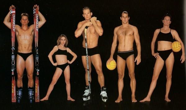 Daron Rahlves, esquiador, 1,75 m e 79 kg / Tara Lipinski, esquiadora artística, 1,55 m e 43 kg / Patrik Elias, jogador de hóquei, 1,85 m e 91 kg / Wolf Wigo, jogador de pólo aquático, 1,88 m e 88 kg / Maureen O'Toole, jogadora de pólo aquático, 1,80 m e 64 kg