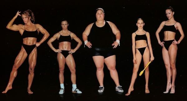 Kim Chizevsky, fisiculturista, 1,74 m e 61 kg / Tara Nott, levantadora de pesos, 1,55 m e 48 kg / Cheryl Haworth, levantadora de pesos, 1,75 m e 135 kg / Olga Karmansky, ginasta rítmica, 1,55 m e 39 kg / Aliane Baquerot, ginasta rítmica, 1,68 m e 51 kg