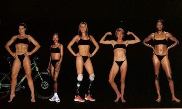 Cathy Sassin, corredora de aventura, 1,68 m e 63 kg / Tegia Loroupe, corredora de longa distância, 1,50 m e 37 kg / Aimee Mullins, corredora de curta distância e saltadora, 1,73 m e 48 kg / Deena Drossin, corredora de longa distância, 1,62 m e 48 kg / LeShundra Nathan, atleta de heptatlo, 1,80 m e 79 kg