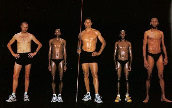 Bob Kennedy, corredor de longa distância, 1,83 m e 66 kg / John Kagwe, 1,68 m e 52 kg / Dan O'Brien, atleta de decatlo, 1,88 m e 84 kg / Joseph Chebet, maratonista, 1,63 m e 52 kg / Johnny Gray, corredor de 800 metros, 1,93 m e 79 kg