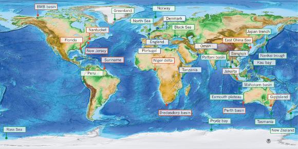 Mapa do mundo da topografia e batimetria mostrando ocorrências conhecidas de água doce salobra subterrânea no mar. Crédito: Vincent E. A. Post et al