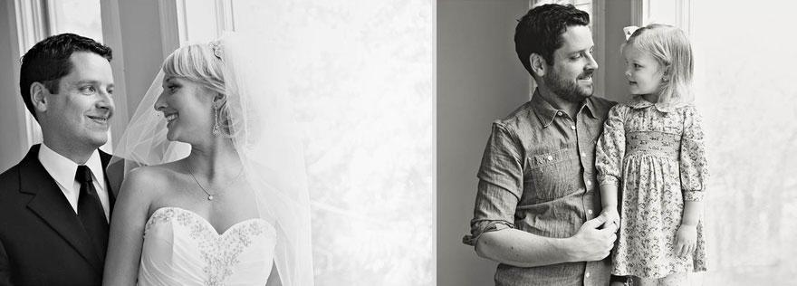 À esquerda vemos Ben Ali e no dia do casamento, em 2009. À direita, Ben e sua filha Olivia em 2013