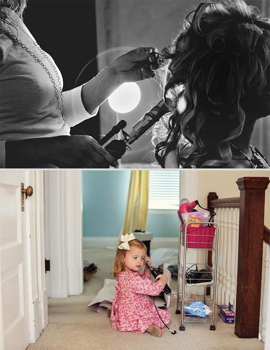 Enquanto eles passavam pela casa, Olivia parou para brincar com acessórios de cabelo que tinham pertencido a sua mãe - incluindo um babyliss. Durante a sua produção para o grande dia, a mãe dela, Ali, foi clicada em uma situação semelhante