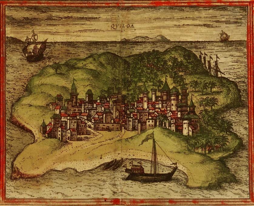 Desenho de Kilwa, feito a partir de uma mapa europeu desenhado no século XVI, cerca de um século depois do apogeu da cidade como potência comercial