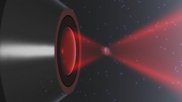 Impressão artística da nanopartícula em uma armadilha laser