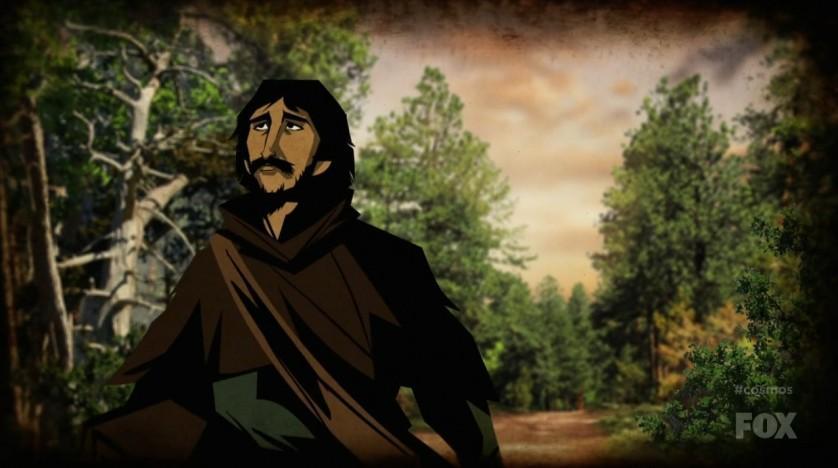 O primeiro episódio conta a trágica história de Giordano Bruno que foi queimado pela Igreja Católica por suas crenças a respeito do modelo heliocentrico