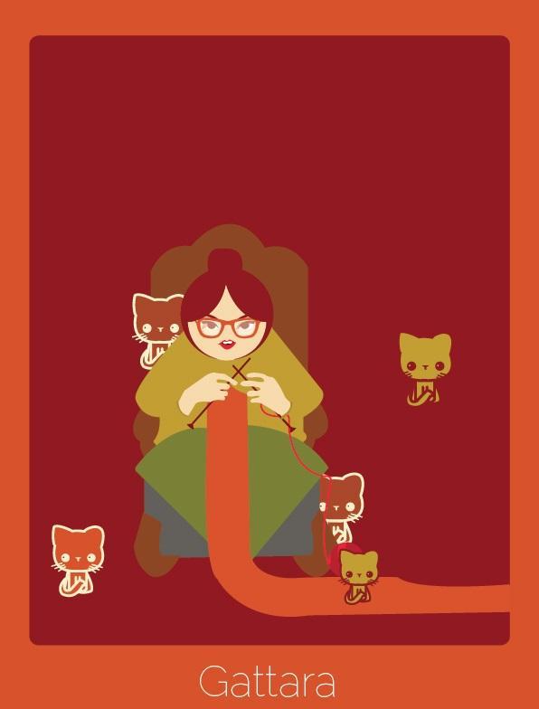 """Palavra do italiano que significa """"mulher, geralmente idosa e solitária, que se devota a cuidar de gatos de rua""""."""