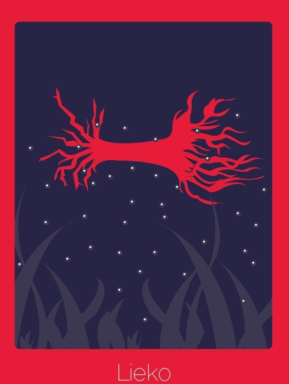 """Palavra do finlandês que significa """"um galho de árvore que afundou até o chão de um lago""""."""