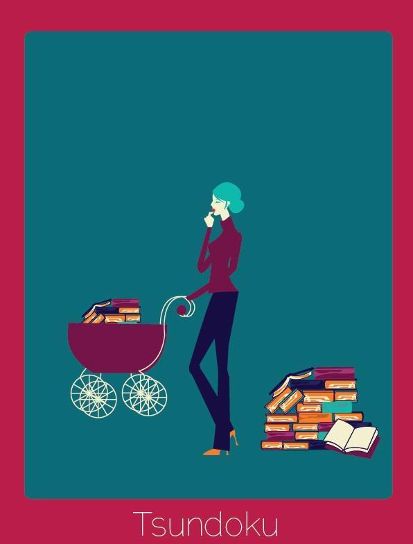 """Palavra do japonês que significa """"o ato de comprar e não ler um livro, tipicamente formando uma pilha junto com outros livros não lidos""""."""