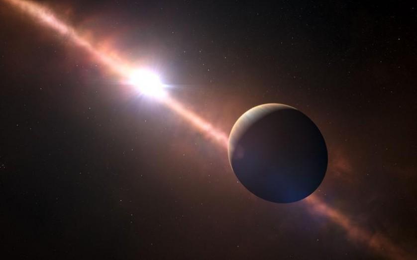 Concepção artística do planeta orbitando a jovem estrela Beta Pictoris