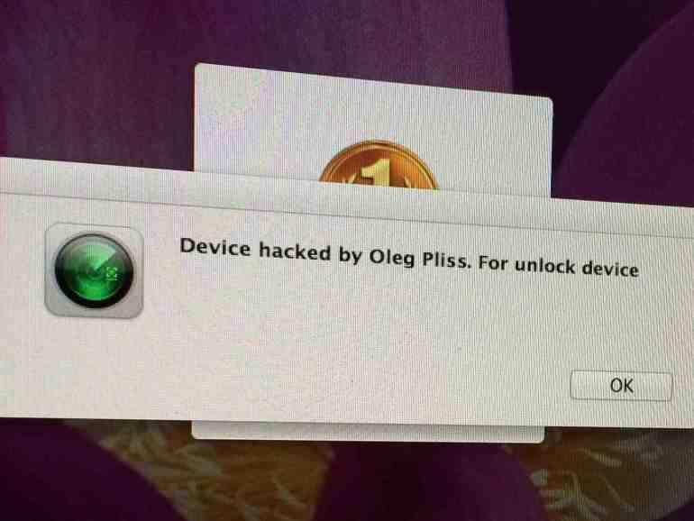 """Mensagem: """"Dispositivo hackeado por Oleg Pliss. Para desbloquear dispositivo"""" seguido de um ícone do Find My iPhone"""