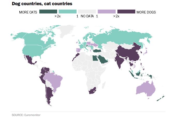 Quanto mais verde, mais gatos existem em um país. Quanto mais roxo, mais cães são preferidos. Cinza representa os países os quais não há dados para a população de cão e gato de estimação