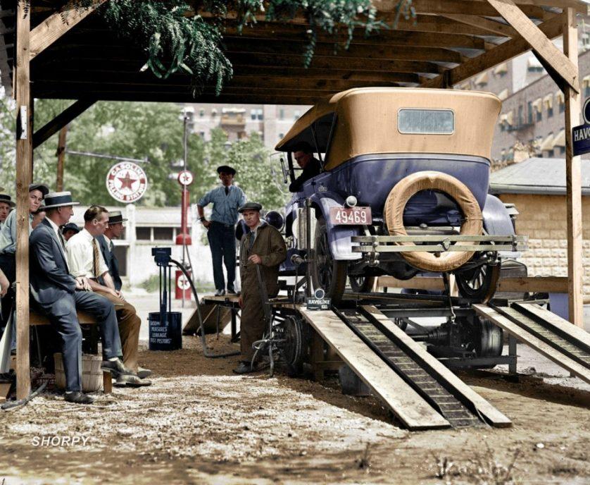 Uma estação de abastecimento de Washington, D.C. em 1924