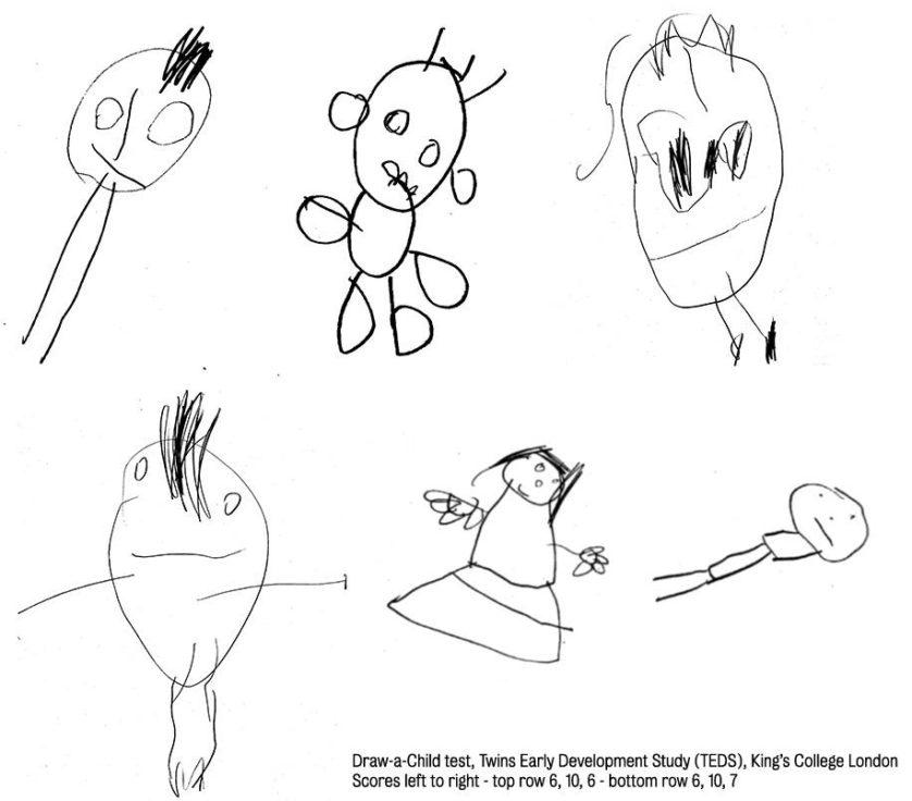 Exemplos de desenhos de crianças do estudo. As pontuações são, da esquerda para a direita: no topo 6, 10 e 6; embaixo, 6, 10 e 7