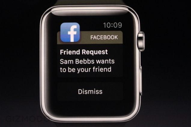 apple watch facebook notificação