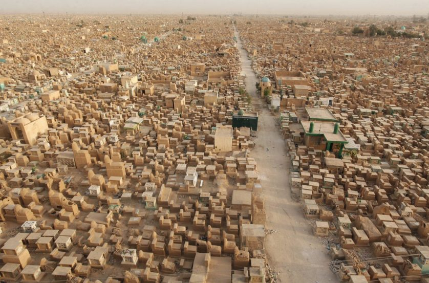 "General view of the ""Valley of Peace"" cemetery in Najaf"
