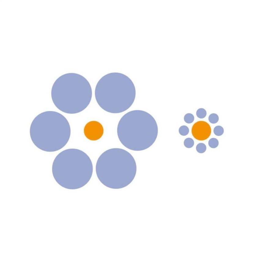 Cada círculo laranja é do mesmo tamanho, mas os círculos azuis enganam a parte do seu cérebro que mede a perspectiva e escala