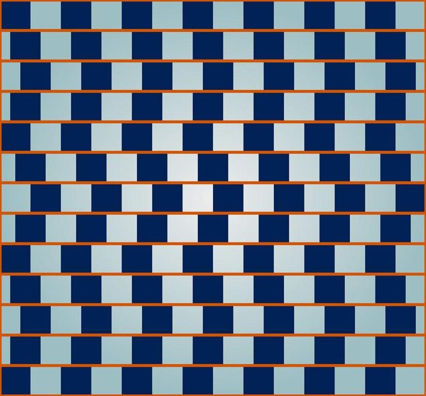 Os quadrados azuis enganam o seu cérebro a ver linhas vermelhas convergentes. Na verdade, todas as linhas são paralelas