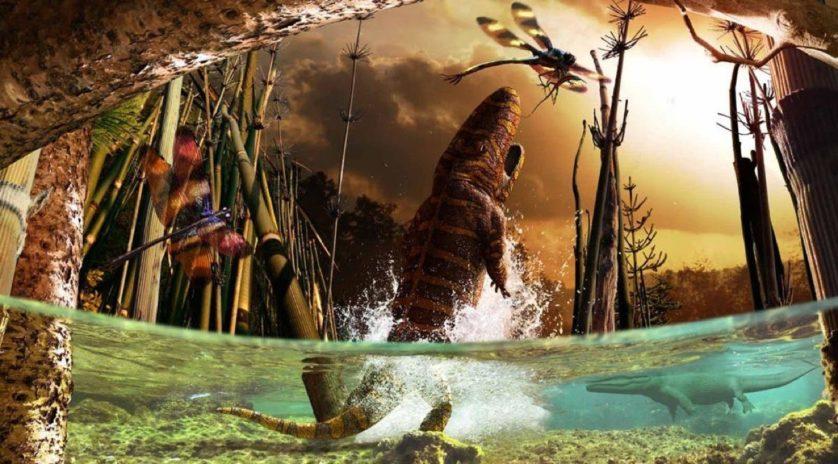 Um dos onze murais criados para a exposição do Gondwana Studios. Esta imagem caracteriza a visão bizarra de um [inseto do gênero] Meganeuropsis transportando um Hylonomus [o mais antigo réptil encontrado até hoje], com um Eryops [anfíbio semiaquático] pulando atrás deles.