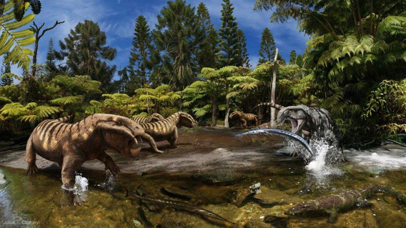 Criada para a exposição do Gondwana Studios, esta imagem caracteriza um grupo de sinapsídeos [do gênero] Dicynodon cautelosamente encarando um dinossauro Archosaurus conforme ele fisga um Saurichthys, enquanto um Chroniosuchus sai de fininho pelo córrego.