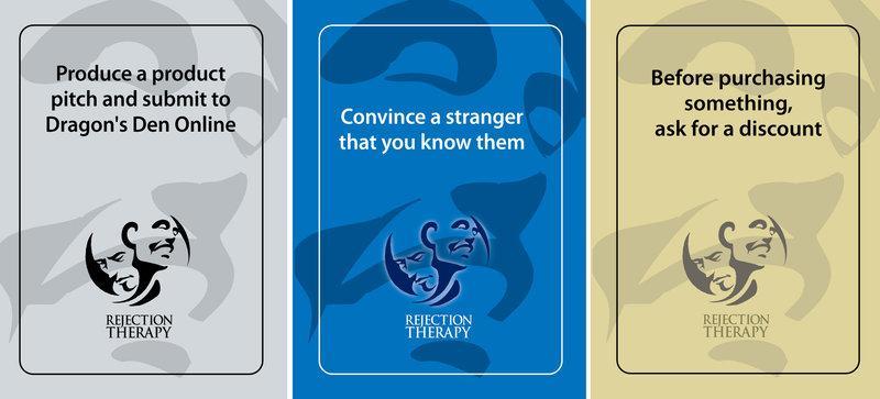 Cartas de baralho do jogo. Elas pedem que os jogadores enviem uma ideia de produto para o reality show Dragons' Den; convençam um estranho de que o conhecem; e peçam por um desconto antes de comprar algo