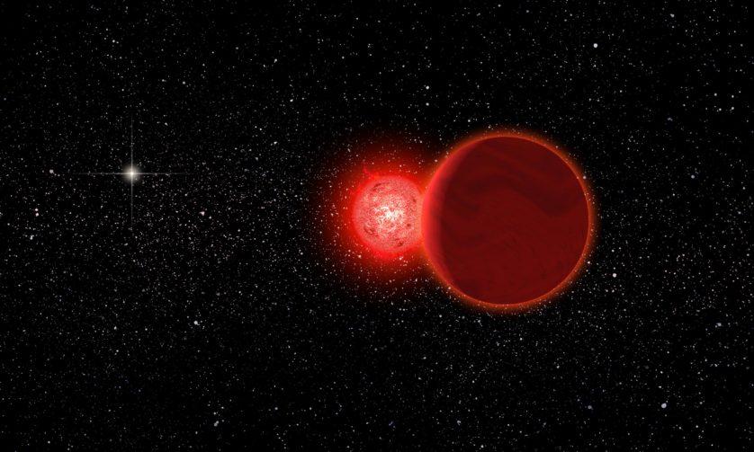 Concepção artística da estrela de Scholz e sua companheira anã marrom (em primeiro plano) durante o seu voo pelo sistema solar 70 mil anos atrás. O Sol aparece à esquerda, ao fundo.