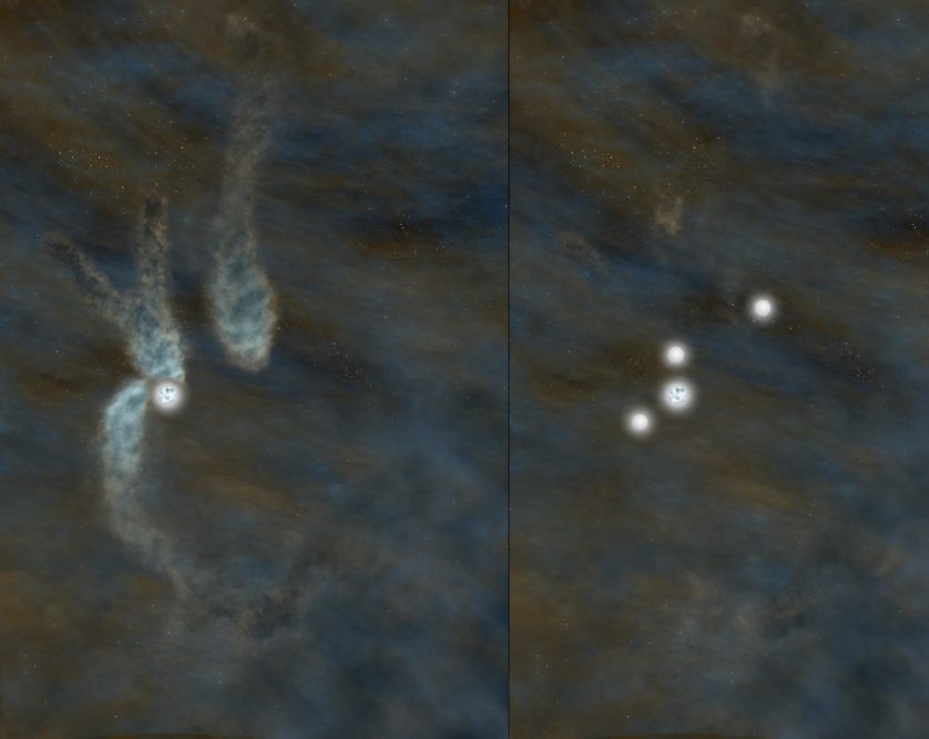 Impressão artística dos resultados. A imagem da esquerda mostra a estrela e três sistemas densos de condensação de gás. À direita, o sistema após as estrelas se formarem a partir das condensações