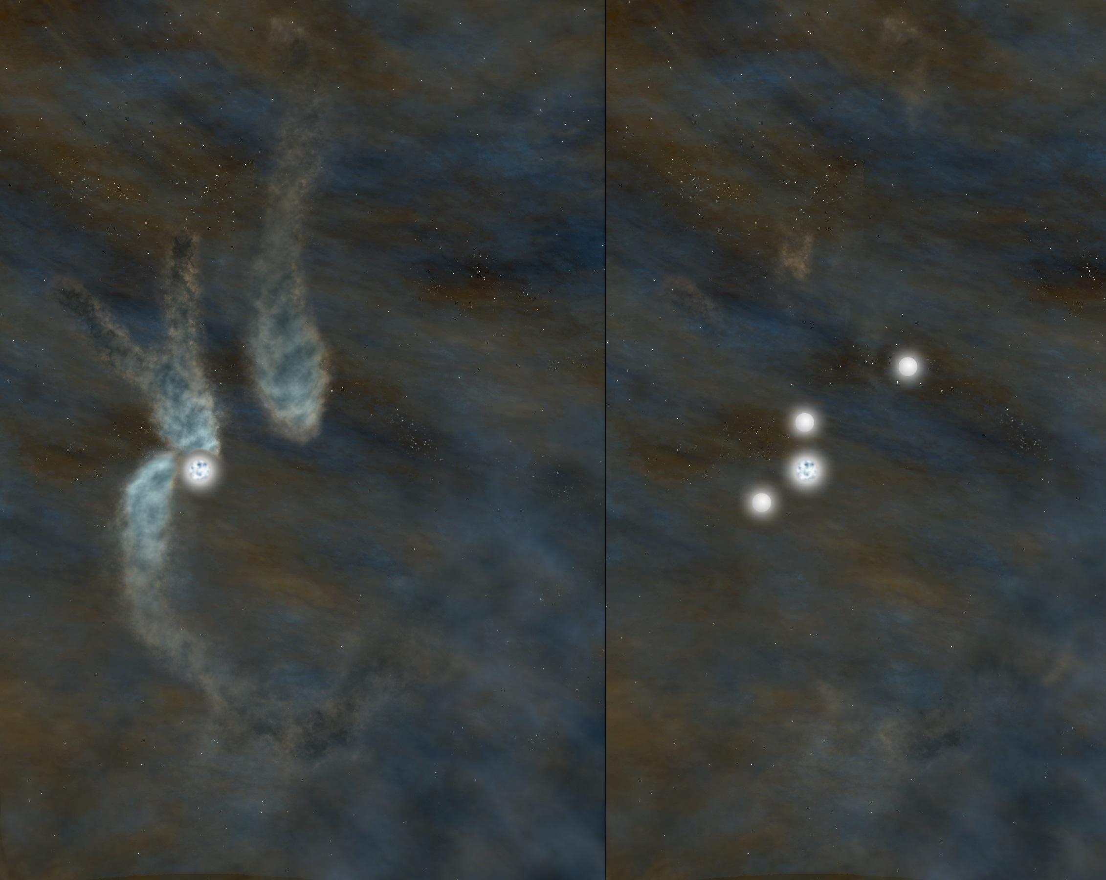 Pela primeira vez, astrônomos observam sistema multi-estrelas em estágio inicial