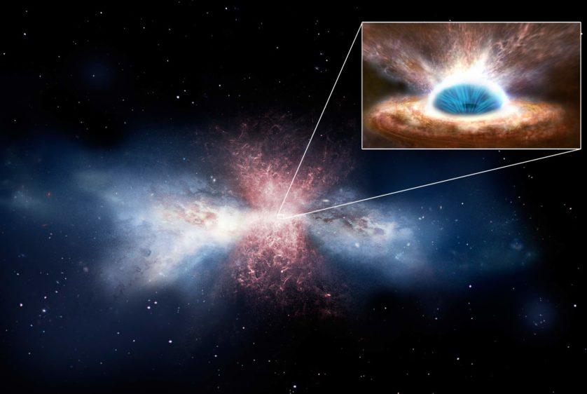 buraco negro varrendo gas formador de estrelas