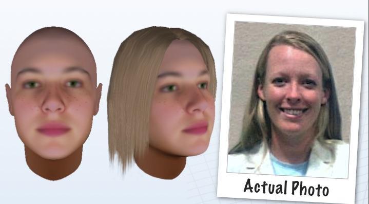 Teste feito pela Parabon, comparando os resultados da ilustração a foto da pessoa real