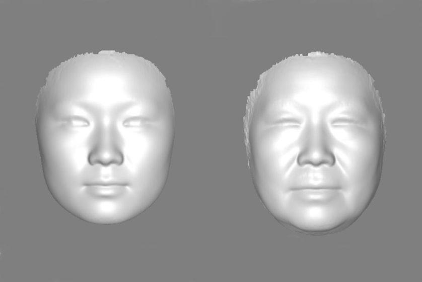 Fotos compostas dos rostos de mulheres chinesas, com idade entre 17 e 29, e 60 e 77